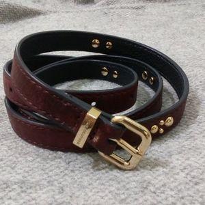 NWOT 100% sheep leather vintage maroon belt